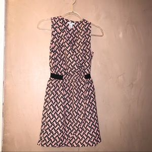 Bar III XS pink, blue and gray zig zag dress
